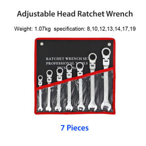 Adjustable Double End Spanner 7Pcs 8-19mm -Flex Head Ratcheting Wrench Set Tool