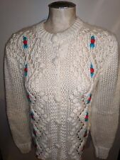 VINTAGE HAND KNIT BY PANDA CHRISTMAS BERRY CARDIGAN SWEATER IVORY S POPCORN WOOL