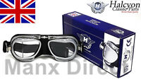 Hand Made Halcyon MK9 Compact Rider Goggles Black Silver Use With Open Face Lid