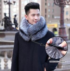 100% Real Genuine Men's Fur Scarf Silver Fox Fu Scarf Collar Fur Scarves