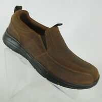 Skechers Glides Docklands Brown Distressed Leather Slip Loafers Mens Size 10.5