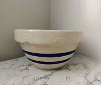 "Robinson Ransbottom Pottery Roseville OH 10"" / 3 Qt Mixing Bowl Blue Stripes"