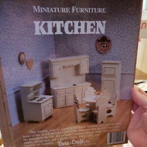 Dura-Craft Dollhouse Miniature Furniture Kit KITCHEN 1988 Sealed Package