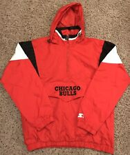 CHICAGO BULLS NBA Starter Hooded Half Zip Pullover Jacket Red Large L