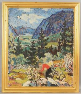 CHRISTIANE OLBERG Fauvist Impressionist Landscape Woman & Garden Painting Norway
