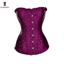 Rhinestone Purple Overbust Corset Busk Closure & Lace up Waist Bustier Top 2XL