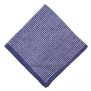 NWT RODA Navy Blue and White Dot Print Linen Pocket Square