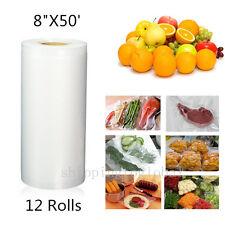 "US 12 Rolls 8"" x 50' 4Mil Commercial Vacuum Sealer Bags Food Saver Storage Bag"