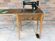 Vintage Singer Model 201K Electric Sewing Machine Folds away into timber cabinet