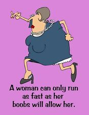 METAL REFRIGERATOR MAGNET Woman Runs Fast As Boobs Allow Family Friend Humor