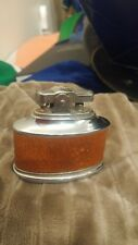 Antique 50's-70's table lighter, Unknown brand, It sparks, Brown leather, Japan