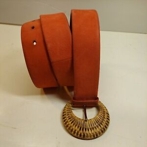 RALPH LAUREN Womens ITALIAN Leather Red Belt Size L 35 in to Middle connection