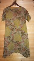 GUDRUN SJODEN SHORT SLEEVE FLORAL COTTON TUNIC DRESS SZ S  POCKETS
