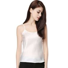 Women Summer Sexy Faux Silk Strappy Tank Tops Sleeveless Solid Color Smooth Vest