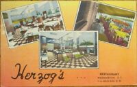 Washington, DC 1940s Linen Postcard: Herzog's Restaurant, Main & 11th - DOC
