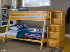 New Balboa Rustic Amber Wash Finish Wood Twin Over Full Bunk Bed W/ Stairs