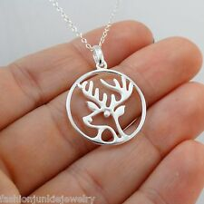 Deer Necklace - 925 Sterling Silver - Deer Pendant Charm Elk Antler Jewelry NEW