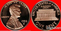 1992 S Lincoln Cent Deep Cameo Gem Proof
