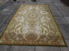 Vintage Hand Made French Design Wool Beige Green Original Aubusson 280X185cm
