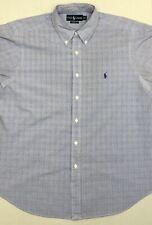 Polo Ralph Lauren Classic Fit Mens Dress Shirt 17-36/37 Blue White Plaids Checks