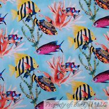 New listing BonEful Fabric Cotton Quilt Aqua Blue Water Yellow Fish Scenic Coral Reef Scrap