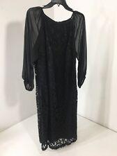 ADRIANA PAPELL WOMEN'S CHIFFON SLEEVE LACE COMBO + SZ DRESS BLACK 18W NWT $160