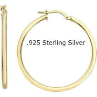 Silver Sterling Gold Earrings Hoop 925 14k Yellow Tone Round Plated Over Silver