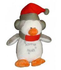 Doudou peluche PINGOUIN Françoise SAGET Joyeux Noel 28cm Blanc Gris Bonnet rouge