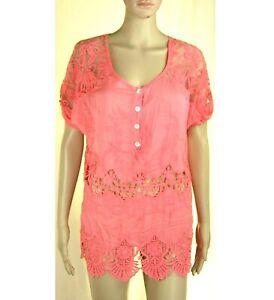 Blusa Lunga Camicia Donna RISSKIO L181 Misto Seta Rosa/Corallo Pizzo Tg S M