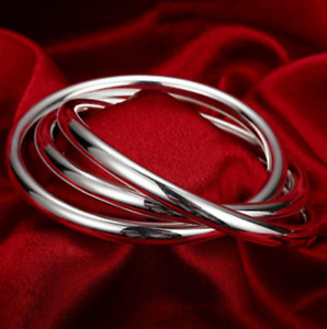 Womens 925 Sterling Silver 3 Pieces Thick Round Bangle Cuff Bracelet #B467