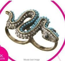 Vintage Style Crystal Snake Double Finger Ring