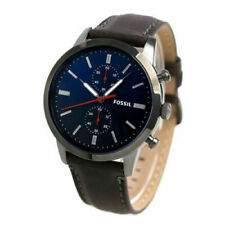Mens Fossil Townsman Blue Dial Brown Leather Strap Chronograph Watch FS5378