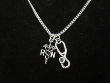 Registered Nurse & Stethoscope charm necklace.  Nurse Gift, #73101d