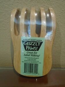 Alaska Bear Grizzly Paws Claws Pasta Salad Wood Tongs Servers Great Northern NEW