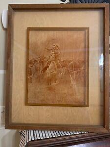 ART Frederick Remington OLD WEST LUCID Photography PINE FRAME STAMPEDE COWBOY