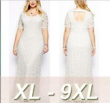 Plus size Women Lace Short Sleeves Long Party Evening Gown Sexy Cocktail Dress