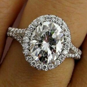 14k White Gold 4.00 ct Oval Cut Diamond Engagement Ring Hallmark