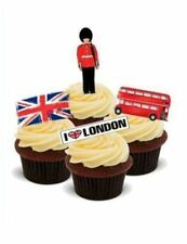 AROUND THE WORLD! ENGLAND,LONDON 12 STANDUP Edible Image Cake Toppers fun city