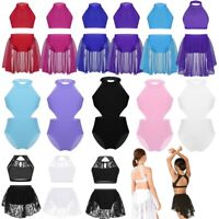 Girls Lyrical Dance Mock Neck Leotard Dress Ballet Crop Top+Skirt Shorts Costume