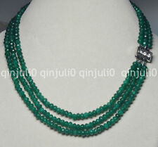 """3Rows 4X6mm Faceted Green Emerald Rondelle Beads Gems Necklaces 17-19"""" JN735"""