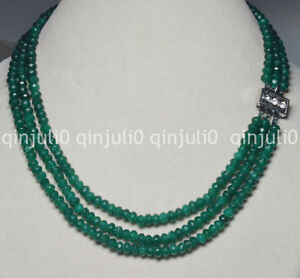 """3Rows 4X6mm Faceted Green Emerald Rondelle Beads Gems Necklaces 17-19"""""""