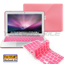 Pink Seethrough Smart Cover Rubberized case keyboard cover Macbook Air 11 11.6""