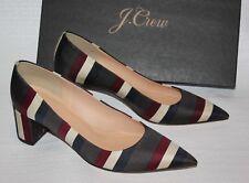 NEW JCrew $258 Avery Striped Pumps Sz 8 Charcoal Multi Block Heels G8160 Shoes
