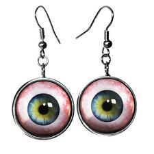 Gothic Human Eye Horror Halloween Taxidermy Eyeball Silver Glass Oddity Earrings