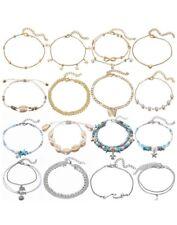Set for Women Girls Adjustable 16 Pcs Waterproof Anklet Bracelets