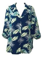 NWT Jaclyn Smith Size XL Women's Blouse Floral 3/4 Sleeve Button Down Shirt