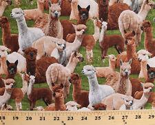 Farm Animals Llamas Alpacas South America Green Cotton Fabric Print D505.14
