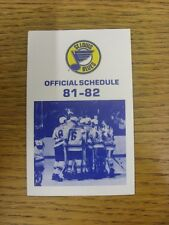 1981/1982 Fixture Card: Ice Hockey - St Louis Blues (fold out style). Any faults