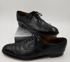 Brooks Brothers English Sz 42 D Devon Wing Tips Black Leather Made in England