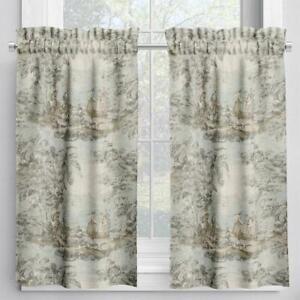 Carolina Linens Tailored Tier Cafe Curtains Bosporus Flax Blue Renaissance Toile